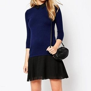 ASOS Sweater Dress With Pleated Skirt sz 14 NWT
